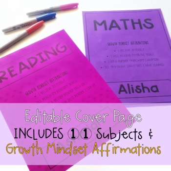 Growth Mindset Editable Subject Cover Pages - Book Covers