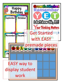 Growth Mindset Editable Tags, Labels, Signs, Class Decor for Back to School