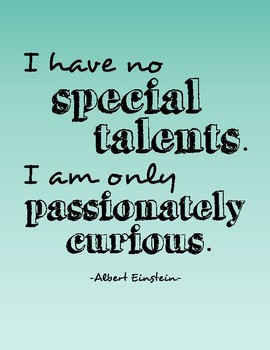 Growth Mindset Einstein Quote Poster - Passionately Curious