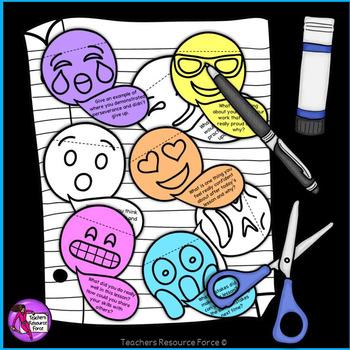 Growth Mindset Emoji Interactive Notebook Exit Tickets - editable!