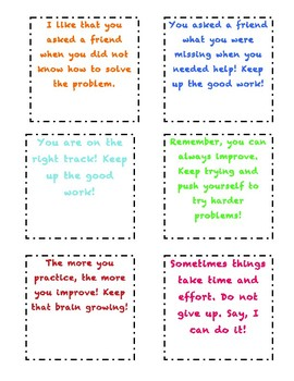 Growth Mindset Encouraging Notes
