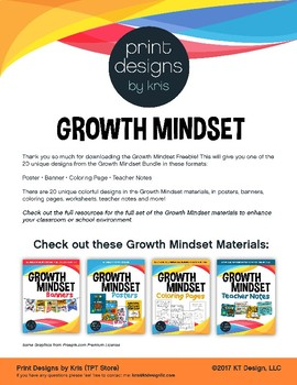 Growth Mindset FREEBIE - Poster/Teacher Note/Banner/Coloring Page