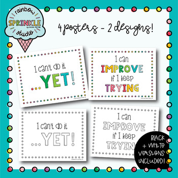 Growth Mindset FREEBIE - Posters + Cards