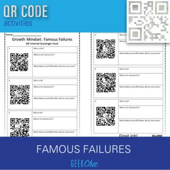 Growth Mindset - QR CODE Famous Failures scavenger hunt!