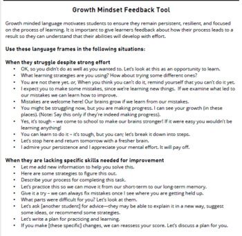 Growth Mindset Feedback Tool