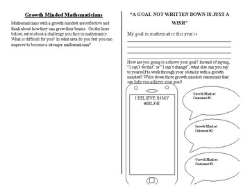 Growth Mindset Flipbook Activity for Mathematics