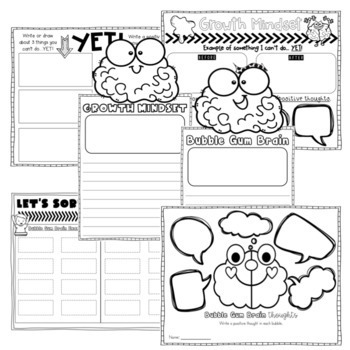 Growth Mindset Flipbook/Activities for the book Bubble Gum Brain by Julia Cook