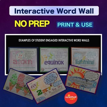 Science Bell Ringer Forces & Motion Interactive Word Wall Activity NO PREP
