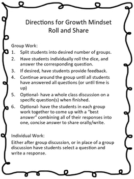Growth Mindset- Roll and Share