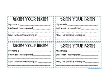 Growth Mindset GOAL CARDS