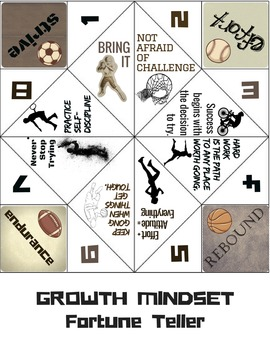 Growth Mindset Game Fortune Teller Activity for Classroom Lessons: Sports Theme