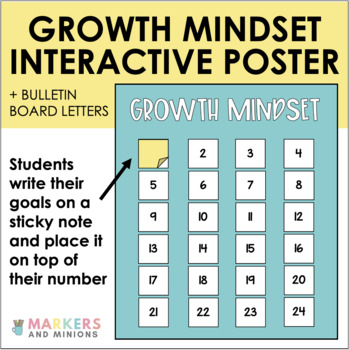 Growth Mindset Giant Bulletin Board Letters and Interactive Anchor Chart