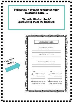 Growth Mindset Goal-Setting Sheet