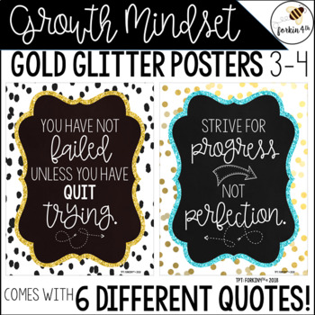Growth Mindset Gold Glitter Posters (and FULL PAGE Bulletin Board Letters)