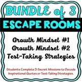 Growth Mindset, Growth Mindset #2 & Test Taking Strategies Escape Rooms BUNDLE