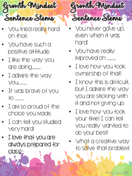 Growth Mindset Sentence Stems FREEBIE!