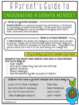 Growth Mindset Handout for Parents