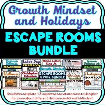 Growth Mindset & Holidays ESCAPE ROOMS Bundle