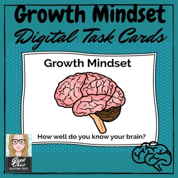 Growth Mindset - How well do you know your brain? DIGITAL TASK CARDS!