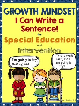 Growth Mindset Special Education I Can Write a Sentence