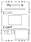 Growth Mindset- I can, I can't yet Worksheet