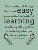 Growth Mindset Quote Poster - If we only did things that were easy - Boho