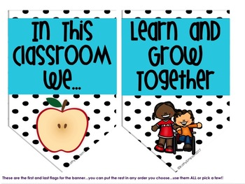 Growth Mindset In this Classroom We Banner Polka Dot and  Blue
