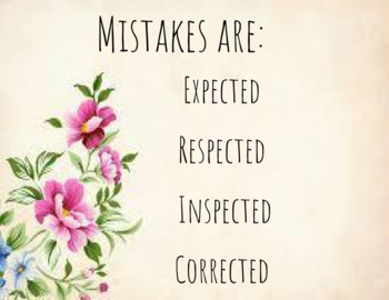 Growth Mindset Inspirational Floral Posters