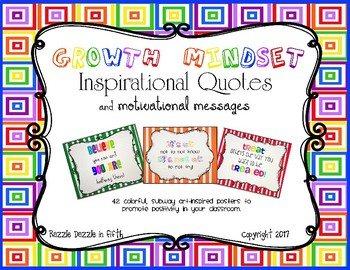 Growth Mindset Inspirational Quotes and Motivational Messages Poster Set