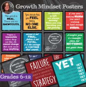 *Growth Mindset Inspirational Sayings - Middle & High School Classroom Posters