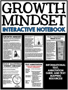 Growth Mindset Interactive Notebook - Graphic Organizers - Text Mapping