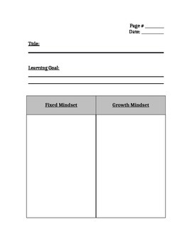 Growth Mindset Interactive Notebook Pages