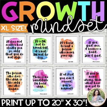 Growth Mindset LARGE Posters 11x17 {36 Watercolor Signs: Classroom Decor}