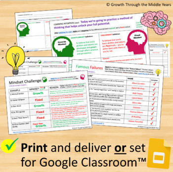 Introduction to Growth Mindset Lesson Pack