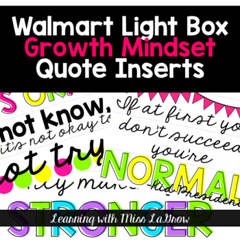 Growth Mindset Light Box Quote Inserts
