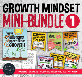 Growth Mindset MINI BUNDLE #1 - Posters • Banners • Notes • Activities