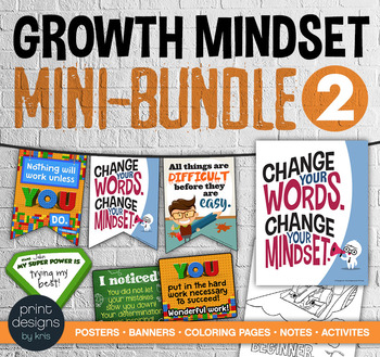 Growth Mindset MINI BUNDLE #2 - Posters • Banners • Notes • Activities