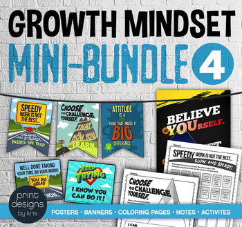 Growth Mindset MINI BUNDLE #4 - Posters • Banners • Notes