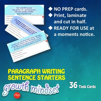 Luminaries-NO PREP- Growth Mindset Paragraph Writing Sentence Starters MLK KING