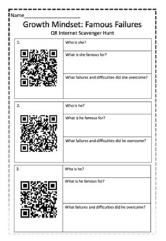 Growth Mindset *MORE* QR CODE Famous Failures - scavenger hunt!