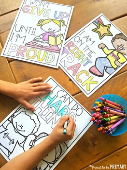 Growth Mindset SEL - Mantra Posters & Coloring Sheets {FREE sample}