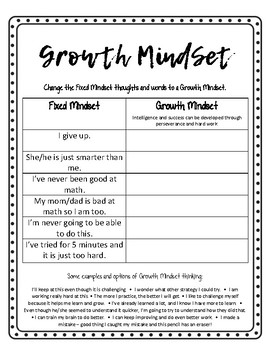 Growth Mindset Matching Activity and Goal Setting Recorder
