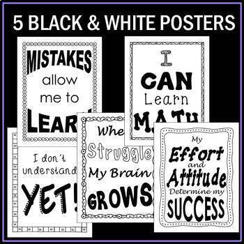 Growth Mindset Math Coloring Pages and Posters