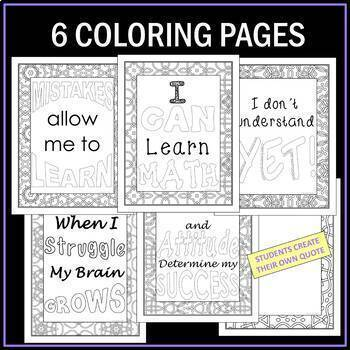 Growth Mindset Posters and Coloring Pages