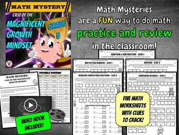 Growth Mindset Math Mystery - 5th Grade Edition