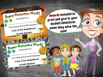 Growth Mindset Math Mystery Activity - 4th Grade Edition - Distance Learning