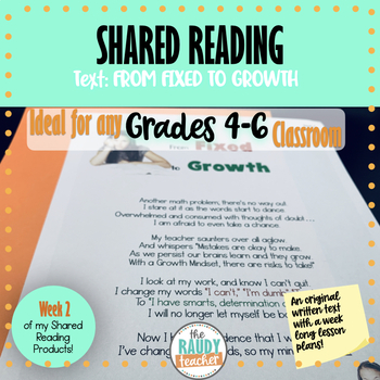 Shared Reading GROWTH MINDSET Lessons Wk 1 (Grade 5 Ont. Curriculum Aligned)