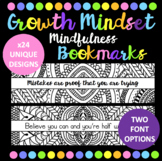 Growth Mindset Mindfulness Bookmarks - 24 Unique Designs & Quotes