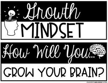 Growth Mindset Bulletin Board Kit and Writing Activity