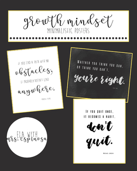 Growth Mindset Minimalist Posters (Set of 9)